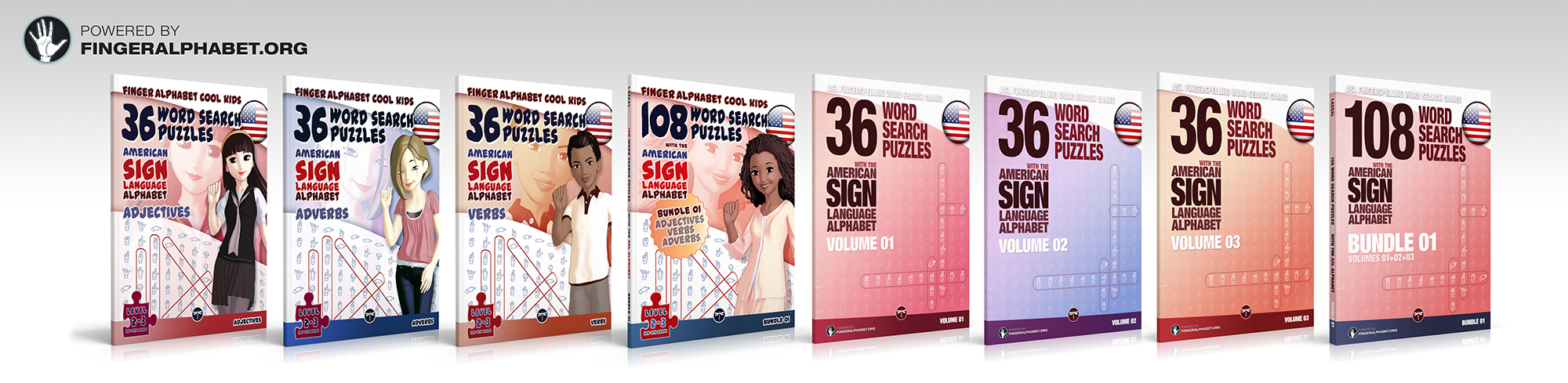 click to see available ASL word search books by Lassal