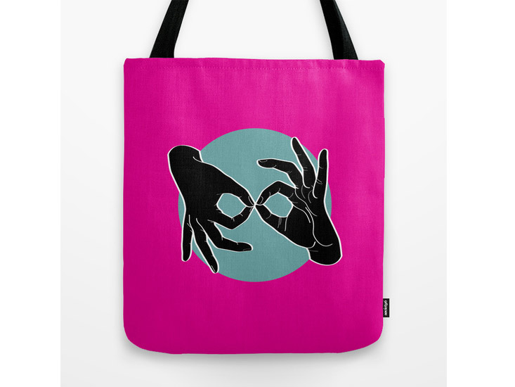 Society6 – Tote Bag – Black on Turquoise 05