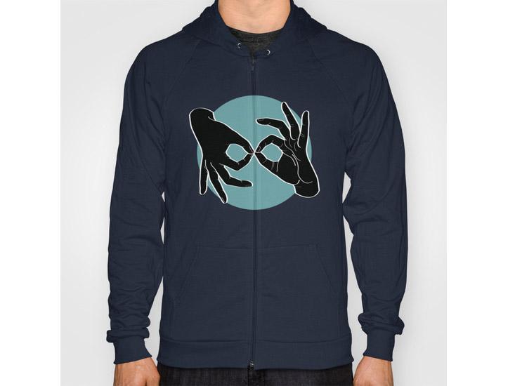 Society6 – Hoody / Unisex Zip Navy Front Print – Black on Turquoise 00