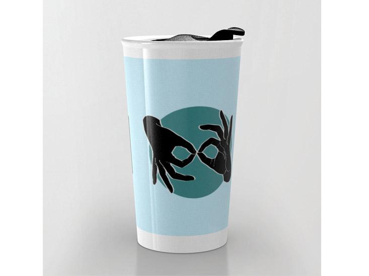 Society6 – Travel Mug – Black on Turquoise 03
