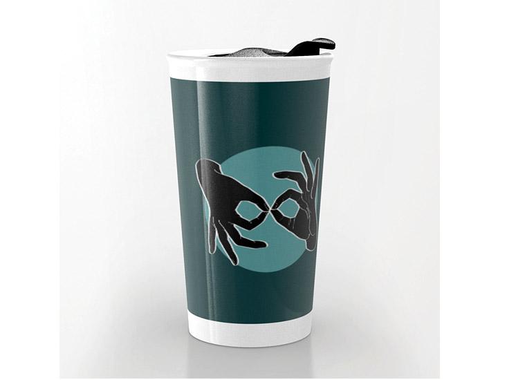 Society6 – Travel Mug – Black on Turquoise 07