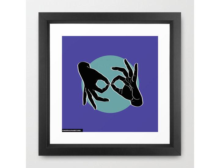 Society6 – Framed Art Print / Vector Black – Black on Turquoise 04