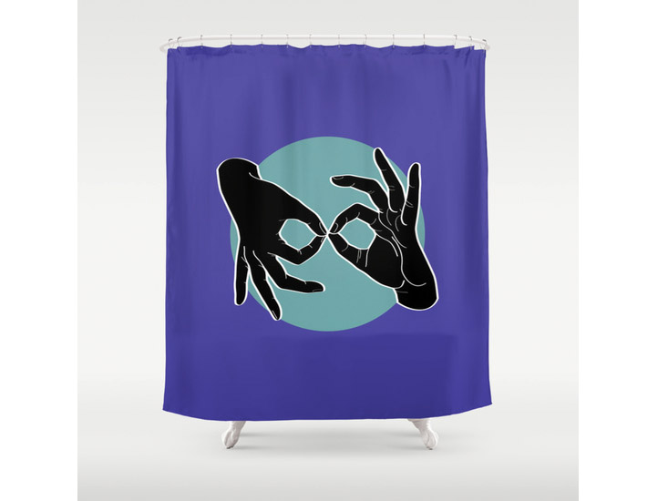 Society6 – Shower Curtain – Black on Turquoise 02