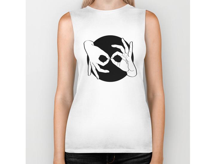 Society6 – Biker Tank – White on Black 00