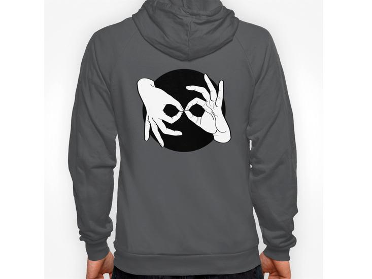 Society6 – Hoody / Unisex Zip Asphalt Back Print – White on Black 00