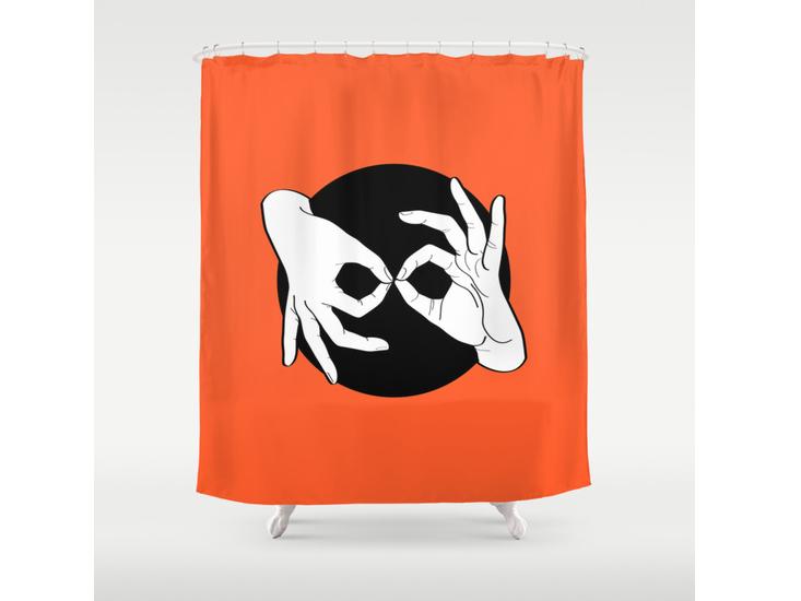 Society6 – Shower Curtain – White on Black 08