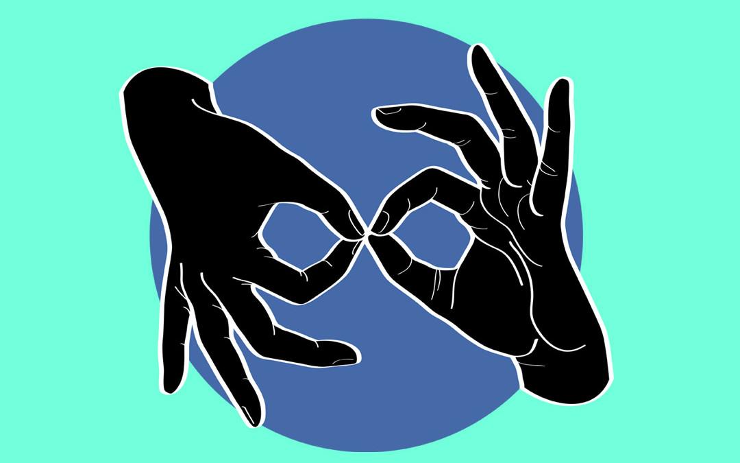 ASL Interpreter – Black on Blue